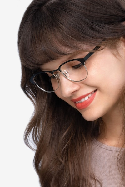 Toledo Black Metal Eyeglass Frames for Women from EyeBuyDirect, Front View