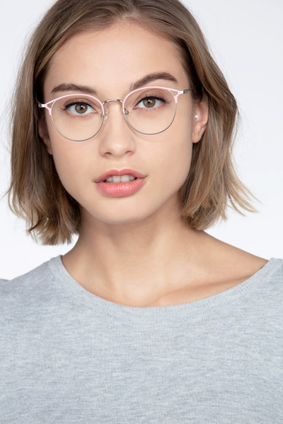 Jive Pink Metal Eyeglass Frames for Women from EyeBuyDirect, Front View