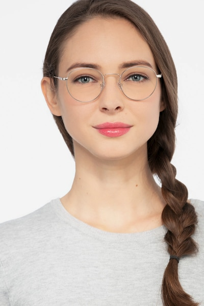 Memento Golden Metal Eyeglass Frames for Women from EyeBuyDirect, Front View