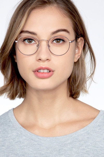 Memento Rose Gold Metal Eyeglass Frames for Women from EyeBuyDirect, Front View