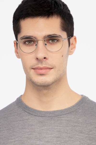 Memento Gunmetal Metal Eyeglass Frames for Men from EyeBuyDirect, Front View