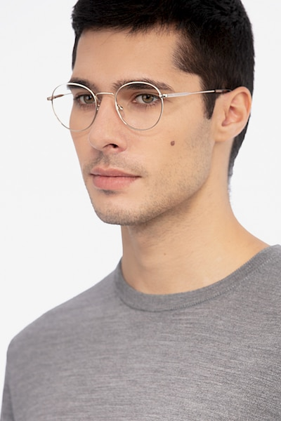 Memento Golden Metal Eyeglass Frames for Men from EyeBuyDirect, Front View