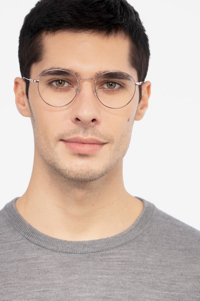 Memento Rose Gold Metal Eyeglass Frames for Men from EyeBuyDirect, Front View