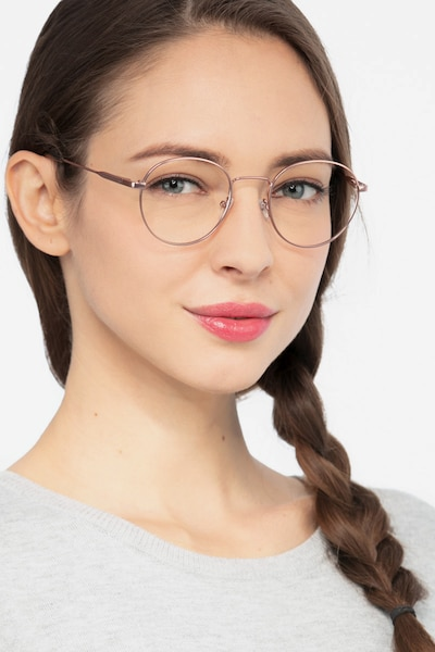 Memento Pink Golden Metal Eyeglass Frames for Women from EyeBuyDirect, Front View