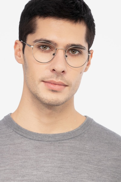 Memento Gunmetal Metal Eyeglass Frames for Men from EyeBuyDirect, Front View