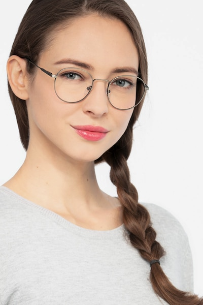 Memento Gunmetal Metal Eyeglass Frames for Women from EyeBuyDirect, Front View