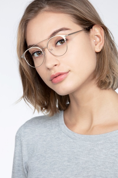 Cosine Rose Gold Metal Eyeglass Frames for Women from EyeBuyDirect, Front View