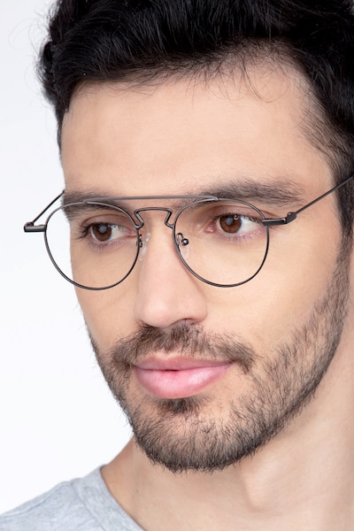 Chariot Gunmetal Metal Eyeglass Frames for Men from EyeBuyDirect