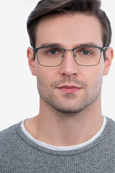 Signal Green Metal Eyeglass Frames for Men from EyeBuyDirect, Front View