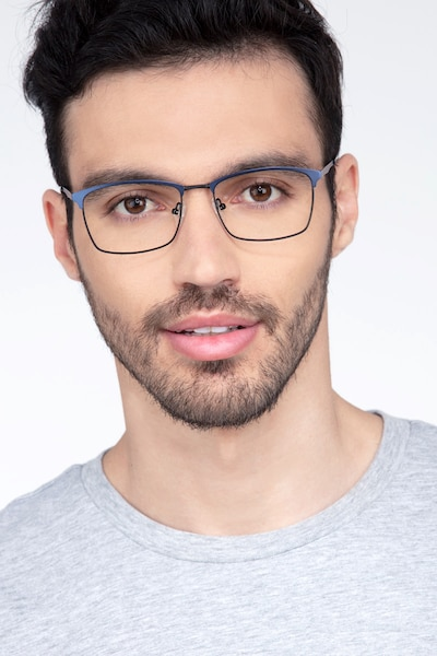 Signal Blue Metal Eyeglass Frames for Men from EyeBuyDirect