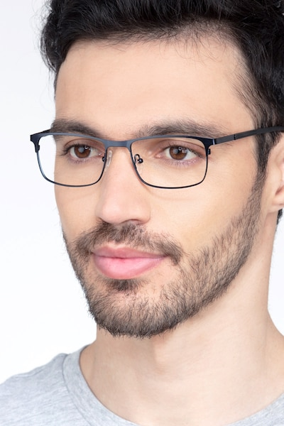 WIT Navy Metal Eyeglass Frames for Men from EyeBuyDirect