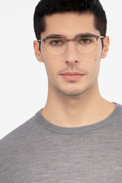 Perceive Brown Golden Metal Eyeglass Frames for Men from EyeBuyDirect, Front View