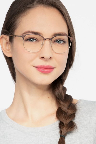 Perceive Brown Golden Metal Eyeglass Frames for Women from EyeBuyDirect, Front View