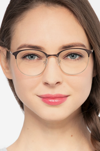 Perceive Brown Golden Metal Eyeglass Frames for Women from EyeBuyDirect