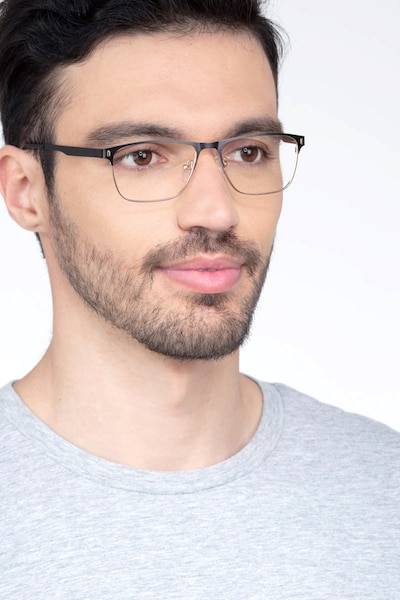 Media Black Metal Eyeglass Frames for Men from EyeBuyDirect, Front View