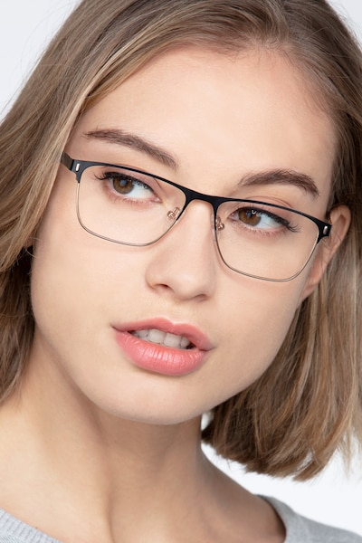 Media Black Metal Eyeglass Frames for Women from EyeBuyDirect