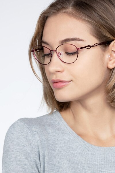 Helix Red Metal Eyeglass Frames for Women from EyeBuyDirect