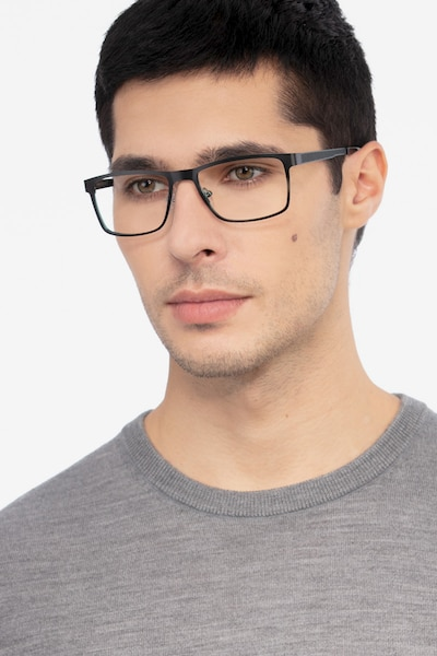 Bemuse Black Metal Eyeglass Frames for Men from EyeBuyDirect, Front View