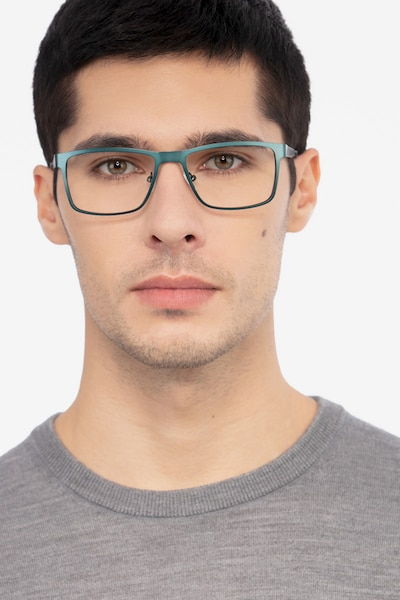 Bemuse Green  Metal Eyeglass Frames for Men from EyeBuyDirect, Front View