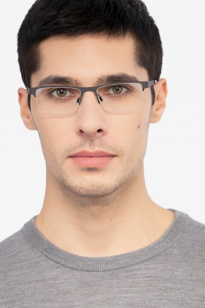 Vine Black Metal Eyeglass Frames for Men from EyeBuyDirect, Front View