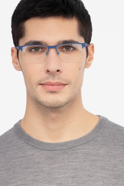 Vine Blue Metal Eyeglass Frames for Men from EyeBuyDirect, Front View