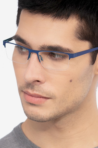 Vine Blue Metal Eyeglass Frames for Men from EyeBuyDirect