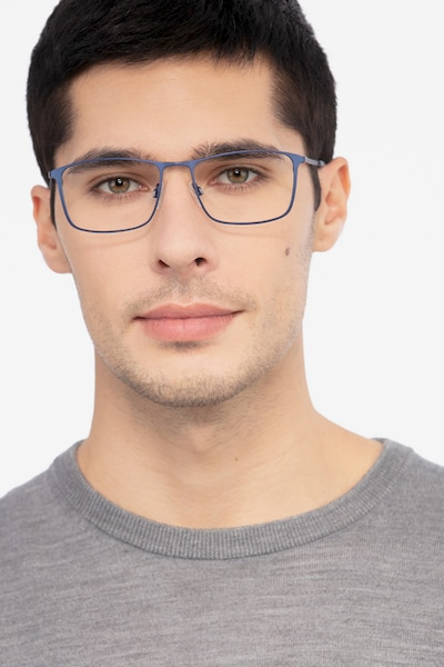 Daytona Blue Metal Eyeglass Frames for Men from EyeBuyDirect, Front View