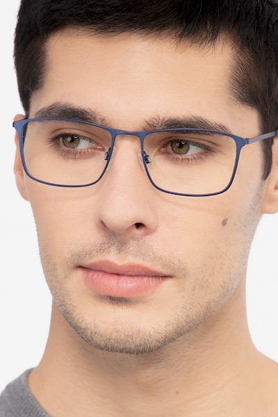 Daytona Blue Metal Eyeglass Frames for Men from EyeBuyDirect