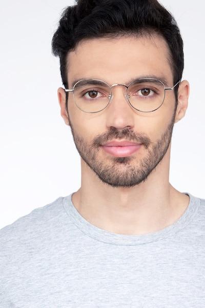 Cori Silver Metal Eyeglass Frames for Men from EyeBuyDirect