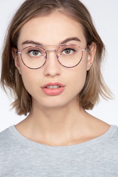 Earhart Red Tortoise Metal Eyeglass Frames for Women from EyeBuyDirect, Front View