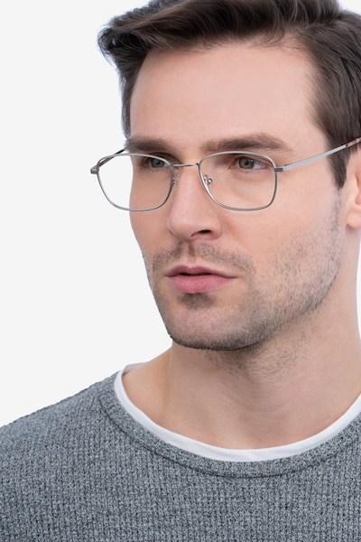 Verse Silver Metal Eyeglass Frames for Men from EyeBuyDirect, Front View