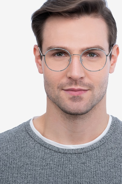 Progress Blue Silver Metal Eyeglass Frames for Men from EyeBuyDirect, Front View