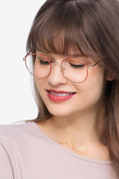 Progress Red Golden Metal Eyeglass Frames for Women from EyeBuyDirect, Front View