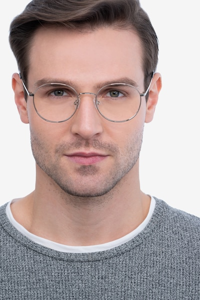 Progress Brown Silver Metal Eyeglass Frames for Men from EyeBuyDirect, Front View