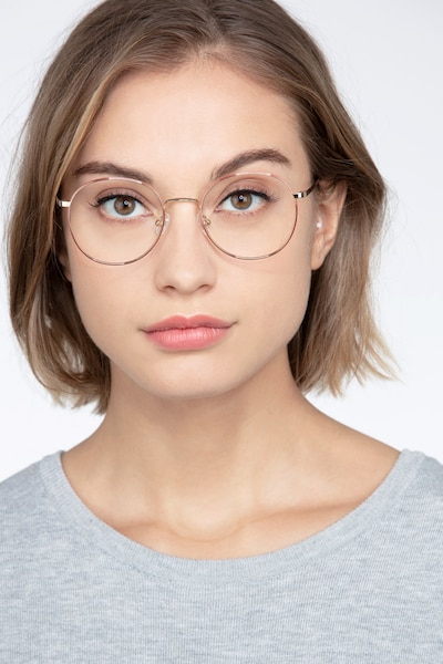 Progress Brown Silver Metal Eyeglass Frames for Women from EyeBuyDirect, Front View