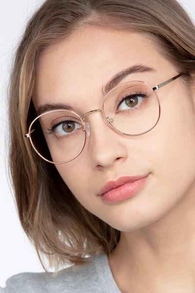 Progress Brown Silver Metal Eyeglass Frames for Women from EyeBuyDirect