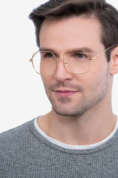 Movement Golden Metal Eyeglass Frames for Men from EyeBuyDirect, Front View