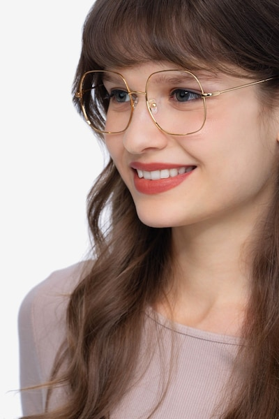 Movement Golden Metal Eyeglass Frames for Women from EyeBuyDirect, Front View