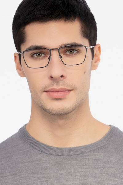Wind Gunmetal Metal Eyeglass Frames for Men from EyeBuyDirect, Front View