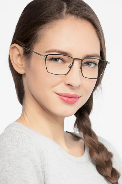 Wind Gunmetal Metal Eyeglass Frames for Women from EyeBuyDirect, Front View