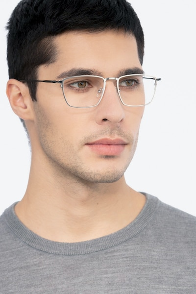 Wind Silver Metal Eyeglass Frames for Men from EyeBuyDirect, Front View