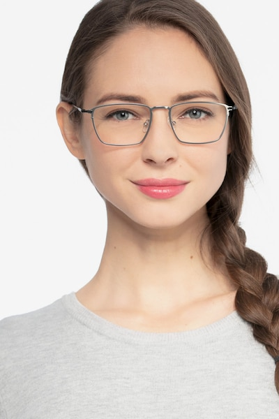 Wind Silver Metal Eyeglass Frames for Women from EyeBuyDirect, Front View
