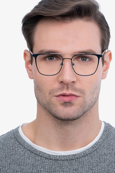Contact Blue Metal Eyeglass Frames for Men from EyeBuyDirect