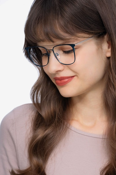 Contact Blue Metal Eyeglass Frames for Women from EyeBuyDirect, Front View