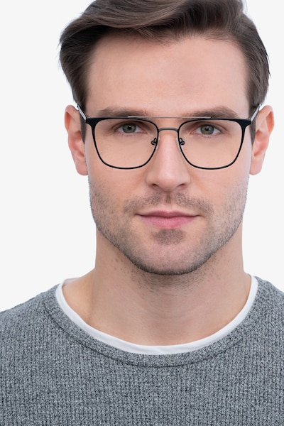 Contact Black Metal Eyeglass Frames for Men from EyeBuyDirect, Front View