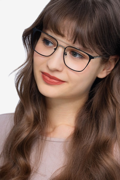 Contact Black Metal Eyeglass Frames for Women from EyeBuyDirect, Front View