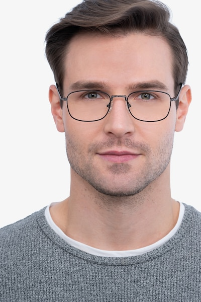 Tampa Black Metal Eyeglass Frames for Men from EyeBuyDirect, Front View