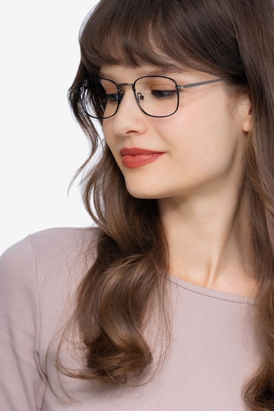 Tampa Black Metal Eyeglass Frames for Women from EyeBuyDirect, Front View