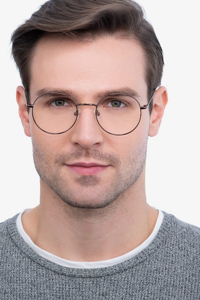 Dapper Coffee Metal Eyeglass Frames for Men from EyeBuyDirect, Front View