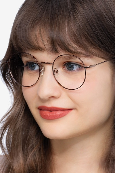 Dapper Coffee Metal Eyeglass Frames for Women from EyeBuyDirect